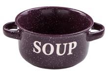 Миска керамическая, 134 мм, Для супа, фиолетовая, PERFECTO LINEA
