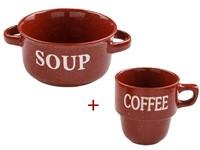 Миска керамическая, 134 мм, Для супа, бордо + Кружка керам.450мл,Кофейная гамма,бордо, PERFECTO LINEA