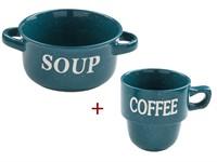 Миска керамическая, 134 мм,Для супа, синяя +Кружка керам.450мл,Кофейная гамма,зеленая,PERFECTO LINEА