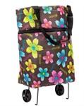 Хозяйственная складная сумка с выдвижными колесиками, Цветы-2