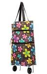 Хозяйственная складная сумка с выдвижными колесиками, Цветы-2 BRADEX