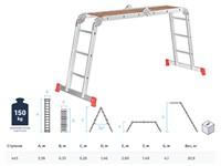 Лестница шарнирная алюм. многофункц. 4х5 ступеней, с помостом (стрем.-269 см, лестн.-556 см) 20,5 кг NV200, Новая высота