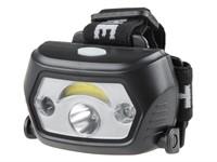 Фонарь налобный светодиодный аккумуляторный 1 Вт+1 Вт (ИК-сенсор, USB-кабель), ЮПИТЕР