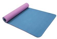 Коврик для йоги 183*61*0,6 TPE двухслойный фиолетовый/голубой, BRADEX
