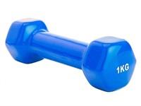 Гантель обрезиненная 1 кг, синяя, BRADEX