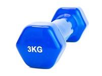 Гантель обрезиненная 3 кг, синяя, BTADEX