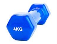 Гантель обрезиненная 4 кг, синяя, BRADEX