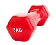 Гантель обрезиненная 3 кг, красная, BRADEX