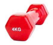 Гантель обрезиненная 4 кг, красная, BRADEX