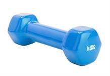 Гантель обрезиненная 0,5 кг, синяя, BRADEX