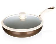 Сковорода-вок 28*8 см алюминиевая антипригарная с крышкой Contra, BANQUET