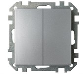 Выключатель двухклавишный скрытый стандартный BYLECTRICA Стиль, серебро