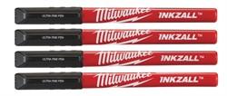 Маркеры MILWAUKEE INKZALL со сверхтонким пером черные (4 шт.) [48223164]