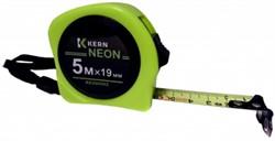 Рулетка измер. NEON, 5м/19мм, 2-стор. лента неон/белая, 1 фикс., магнит KERN