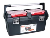 Ящик для инструмента пластмассовый 60x30,5x29,5см (с лотком) (алюм.рукоятка, мет. замки)