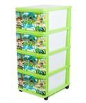Комод пластмассовый детский с 4-мя выдвижными ящиками игровой 51*40*100 см (арт. 040312, код 118762)
