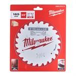 Диск пильный по дереву MILWAUKEE 165х15,87х1,6 мм, 24Z зуба