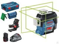 """Нивелир лазерный линейный BOSCH GLL 3-80 CG c аккумулятором L-BOXX (проекция: 3 плоскости 360°, до 120 м, +/- 0.20 мм/м, резьба 1/4, 5/8"""")"""