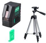 """Уровень лазерный FUBAG Crystal 20G VH зеленый луч со штативом и мишенью ( 2 луча, 20/50 м, точность 0,2 мм/м, резьба 1/4"""")"""