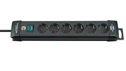 Удлинитель 3м (6 роз., 3.3кВт, с/з, выкл., 3х1,5мм2, ПВС) чер. Premium Line BRENNENSTUHL