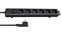 Удлинитель 2м (6 роз., 3.3кВт, с/з, выкл., ПВС 3х1,5мм2 ) черный Brennenstuhl Comfort-Line Plus