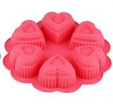 Форма для выпечки, силиконовая, круглая на 6 сердец, 25 х 4.5 см, FRUIT DOVE, PERFECTO LINEA