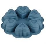 Форма для выпечки, силиконовая, круглая на 6 сердец, 25 х 4.5 см, BLUESTONE, PERFECTO LINEA