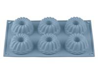 Форма для выпечки, силиконовая, прямоуг. на 6 кексов, 28.5 х 17.5 х 4 см, BLUESTONE, PERFECTO LINEA
