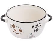 Супница керамическая, 140 мм, круглая, серия Миу-Миу, белый кот, PERFECTO LINEA (объем 800 мл)