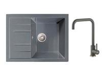 Мойка из искусственного камня BEST серый 650х500 mm, AV Engineering + смеситель