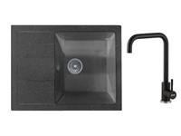 Мойка из искусственного камня BEST черный 650х500 mm, AV Engineering + смеситель