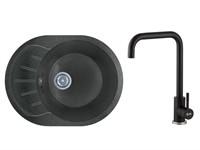 Мойка из искусственного камня RIO черный, 580х450 mm, AV Engineering + смеситель