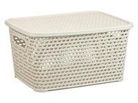 Ящик для хранения с крышкой РОТАНГ 370х280х190мм (белый)