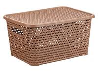 Ящик для хранения с крышкой РОТАНГ 370х280х190мм (бежевый)