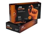 Ультрапрочные нитриловые перчатки JetaSafety, разм. 9/L, оранж., уп. 25 пар.