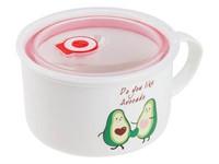Кружка для супа с крышкой с паровыпуском, 900 мл, керамическая, AVOCADO, PERFECTO LINEA